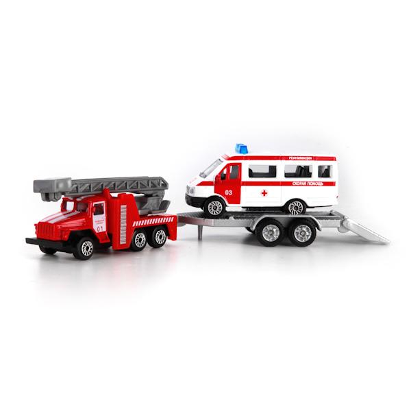 Набор из 2-х металлических моделей Пожарная техника с аксессуарами, 7,5 см.Пожарная техника, машины<br>Набор из 2-х металлических моделей Пожарная техника с аксессуарами, 7,5 см.<br>