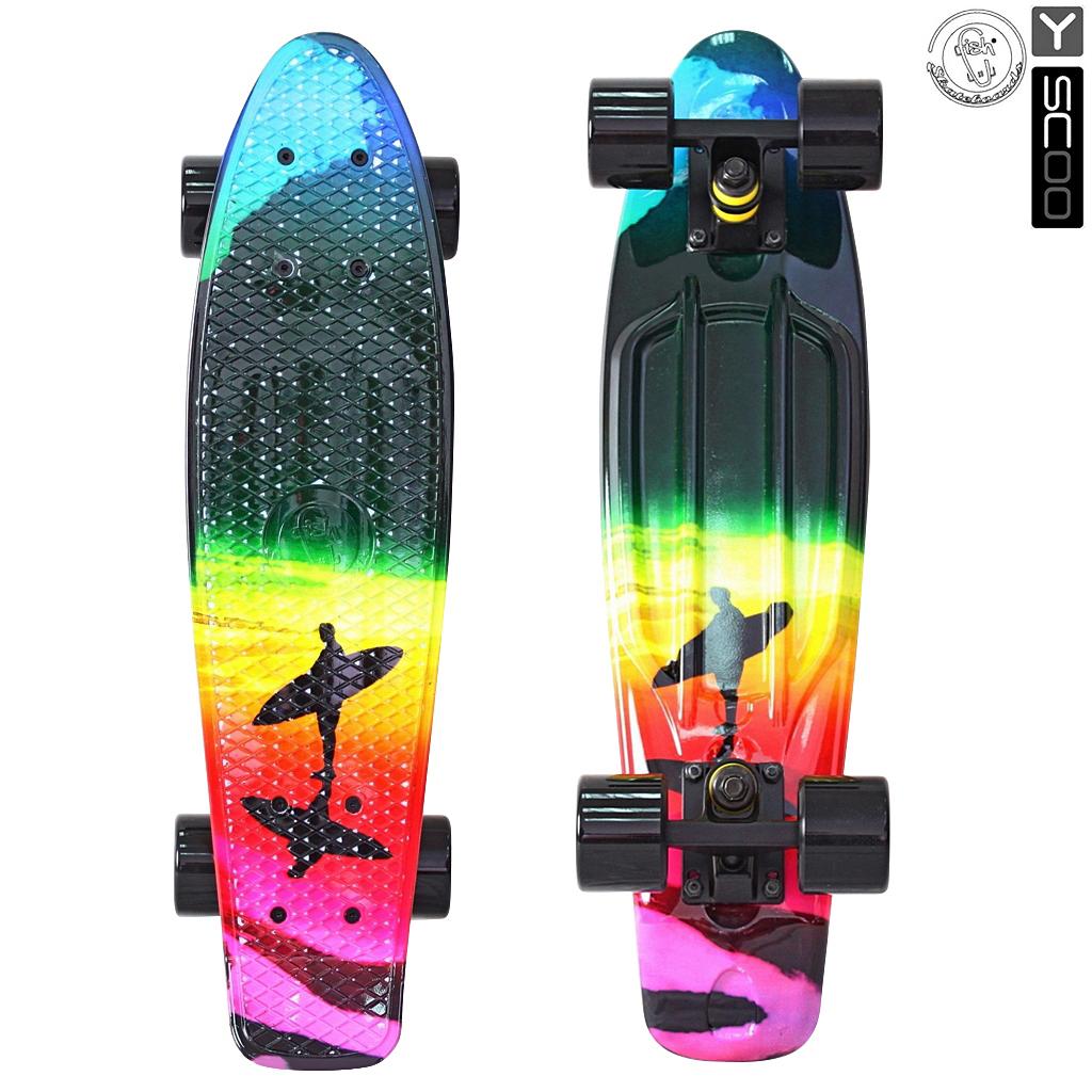 Скейтборд виниловый Y-Scoo Fishskateboard Print 22 401G-O с сумкой, дизайн ПобережьеДетские скейтборды<br>Скейтборд виниловый Y-Scoo Fishskateboard Print 22 401G-O с сумкой, дизайн Побережье<br>