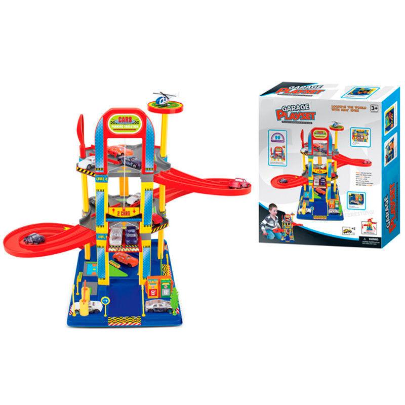 Игровой набор – Многоуровневый гараж с вертолетной площадкой и машинкамиДетские парковки и гаражи<br>Игровой набор – Многоуровневый гараж с вертолетной площадкой и машинками<br>