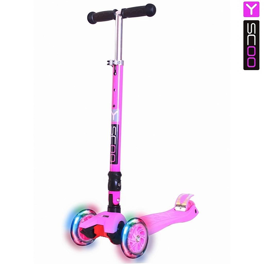 Трехколесный самокат Y-Scoo 35 Maxi Fix Shine, розовый, со светящимися колесамиТрехколесные самокаты<br>Трехколесный самокат Y-Scoo 35 Maxi Fix Shine, розовый, со светящимися колесами<br>