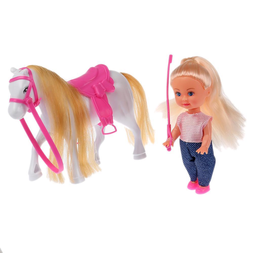 Купить Кукла Машенька наездница 12 см, в комплекте лошадка, Карапуз