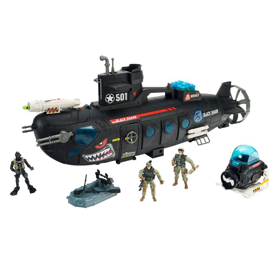 Игровой набор - Боевая субмарина с батискафом, 3 фигуры, звук, свет, стреляетВоенная техника<br>Игровой набор - Боевая субмарина с батискафом, 3 фигуры, звук, свет, стреляет<br>
