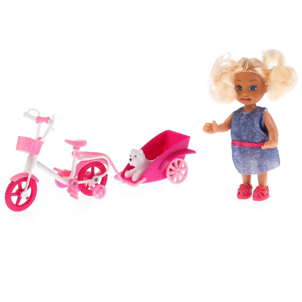 Купить Кукла - Машенька 12 см, в наборе велосипед с прицепом, питомец, Карапуз