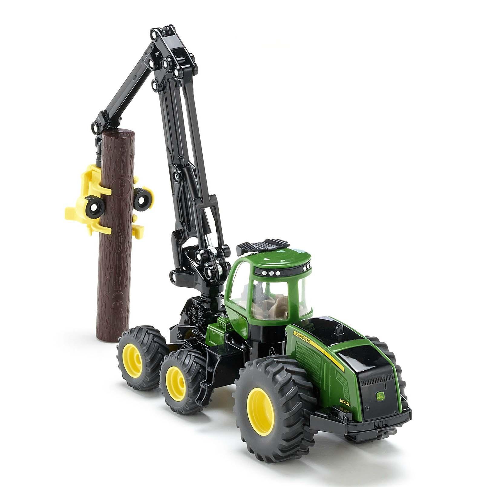 Купить Игрушечная модель - Трактор Джон Дир с захватом для бревен, 1:50, Siku