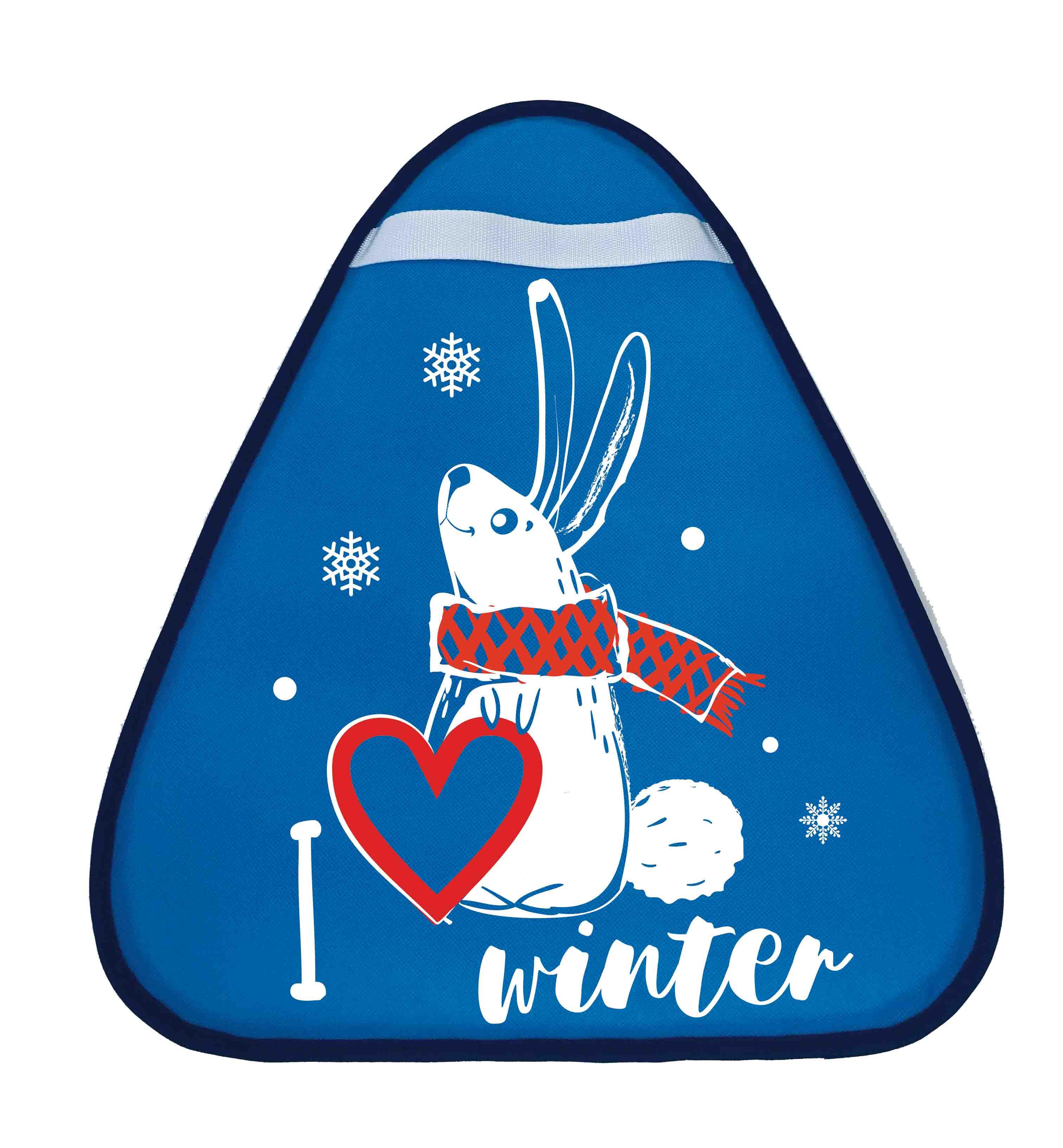 Купить Сани-ледянка треугольная – Зайчик, голубой, 42х48 см, RT