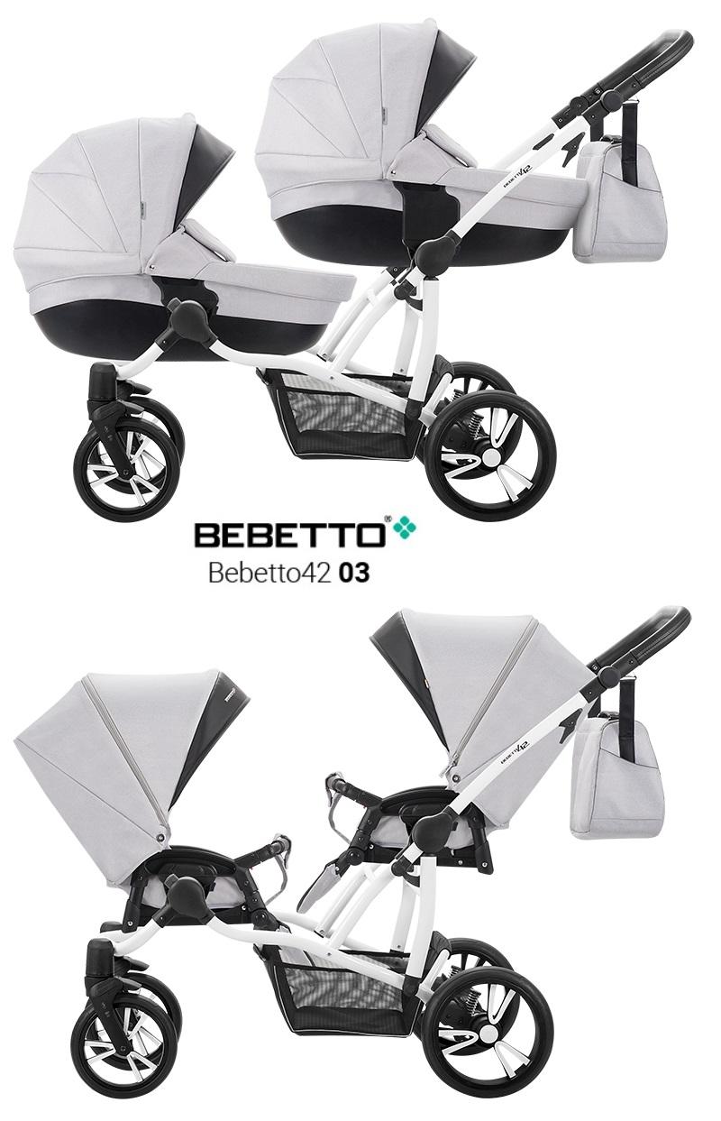 Купить Детская коляска Bebetto 42 2017 для двойни 2 в 1, шасси белая/BIA, цвет – 03
