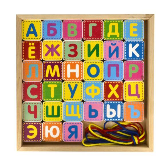 Шнуровка деревянная - Азбука, 33 детали с буквами, 4 шнуркаШнуровка<br>Шнуровка деревянная - Азбука, 33 детали с буквами, 4 шнурка<br>