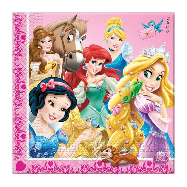 Салфетка - Принцессы и животные 33 см, 16 штукПринцессы Дисней<br>Салфетка - Принцессы и животные 33 см, 16 штук<br>