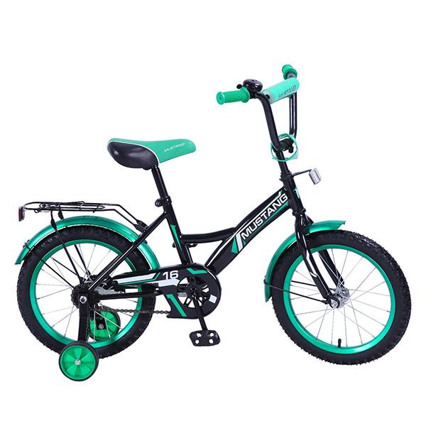 Велосипед детский – Mustang, черно-зеленый со страховочными колесамиВелосипеды детские<br>Велосипед детский – Mustang, черно-зеленый со страховочными колесами<br>