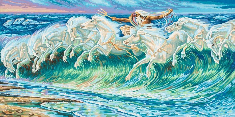 Репродукция для раскрашивания «Лошади Нептуна» Вольтер Крейн, 40х80 смРаскраски по номерам Schipper<br>Репродукция для раскрашивания «Лошади Нептуна» Вольтер Крейн, 40х80 см<br>