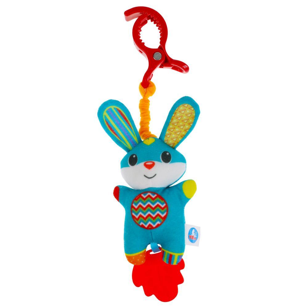 Текстильная игрушка подвеска с клипсой - Зайка