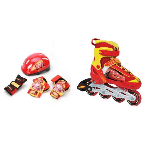 Купить Набор из раздвижных роликов с алюминиевой рамой, размер 30-33 и комплекта защиты с шлемом, дизайн Тачки ASETsim), Shantou