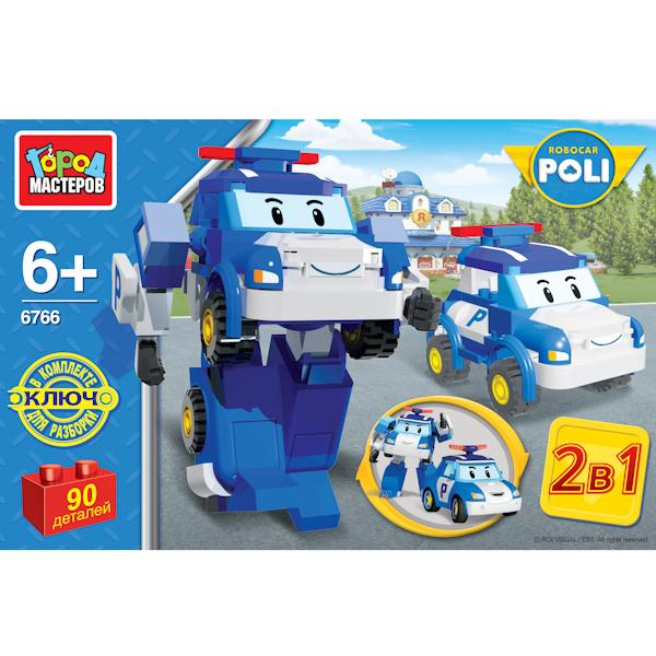 Конструктор 2-в-1 – Робот-полицейская машина, 90 деталейRobocar Poli. Робокар Поли и его друзья<br>Конструктор 2-в-1 – Робот-полицейская машина, 90 деталей<br>