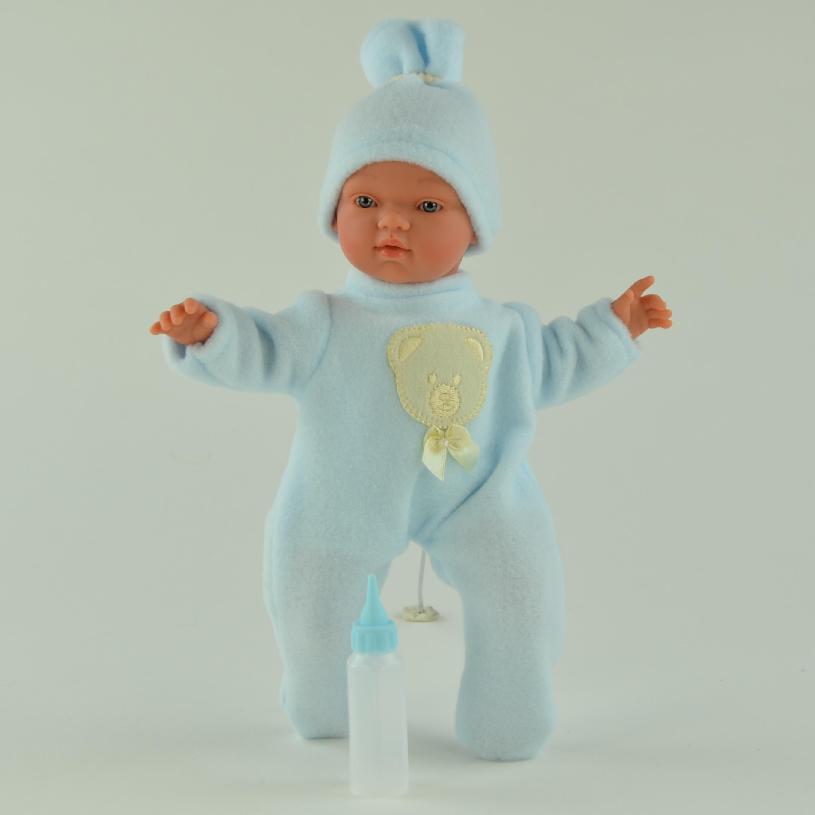 Кукла Гугу в синем костюмчике с бутылочкой, 27 см.Куклы ASI (Испания)<br>Кукла Гугу в синем костюмчике с бутылочкой, 27 см.<br>