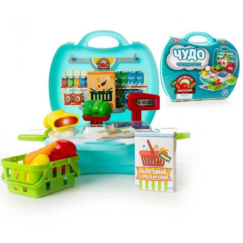 Чудо-чемоданчик - Овощной магазин, 23 предметаДетская игрушка Касса. Магазин. Супермаркет<br>Чудо-чемоданчик - Овощной магазин, 23 предмета<br>