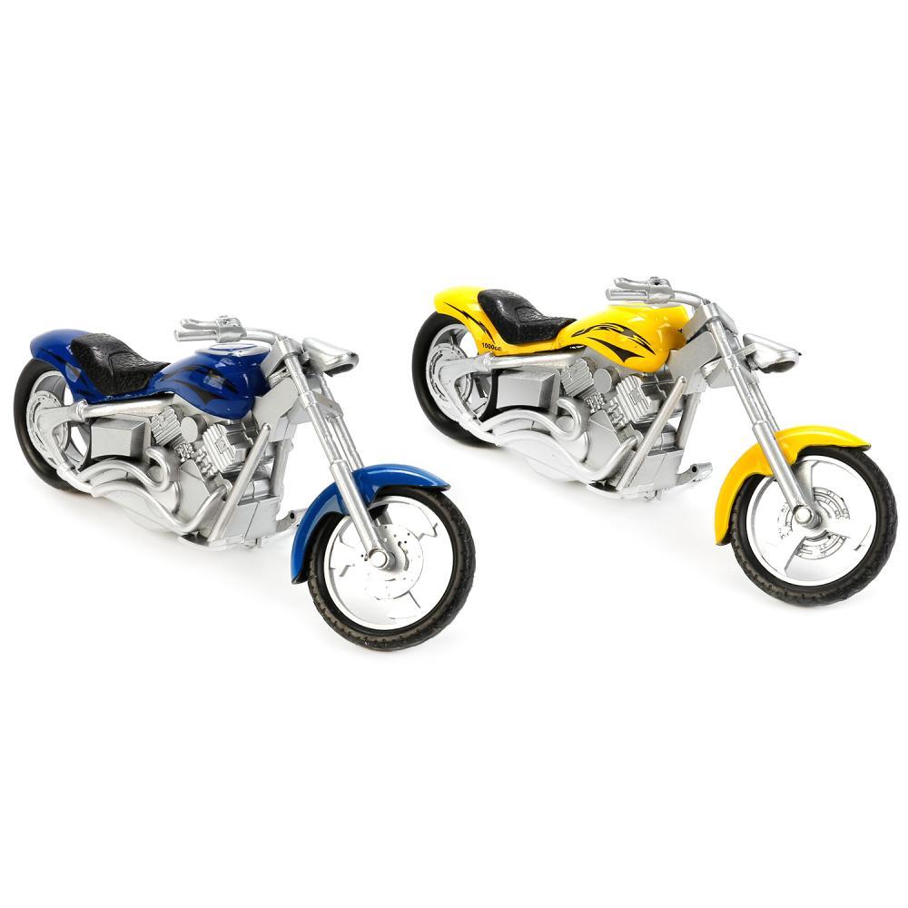 Купить Модель металлическая – Мотоцикл Чоппер 14, 5 см, подвижные элементы, несколько видов, Технопарк