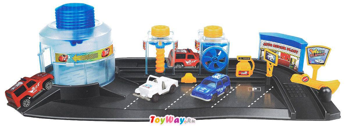 Игровой набор - Автомойка, с 2 машинами меняющими цвет, 1:72Детские парковки и гаражи<br>Игровой набор - Автомойка, с 2 машинами меняющими цвет, 1:72<br>