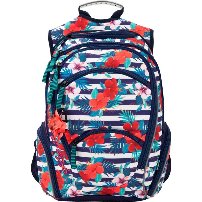 Рюкзак с цветочками и резиночкой для волос Kite Style 857-1Школьные рюкзаки<br>Рюкзак с цветочками и резиночкой для волос Kite Style 857-1<br>