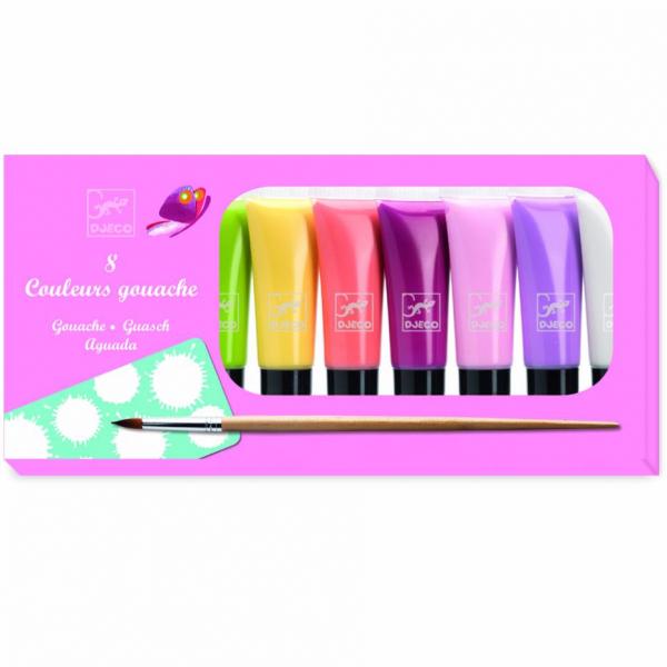 Набор гуаши 8 пастельных цветов с палитрой