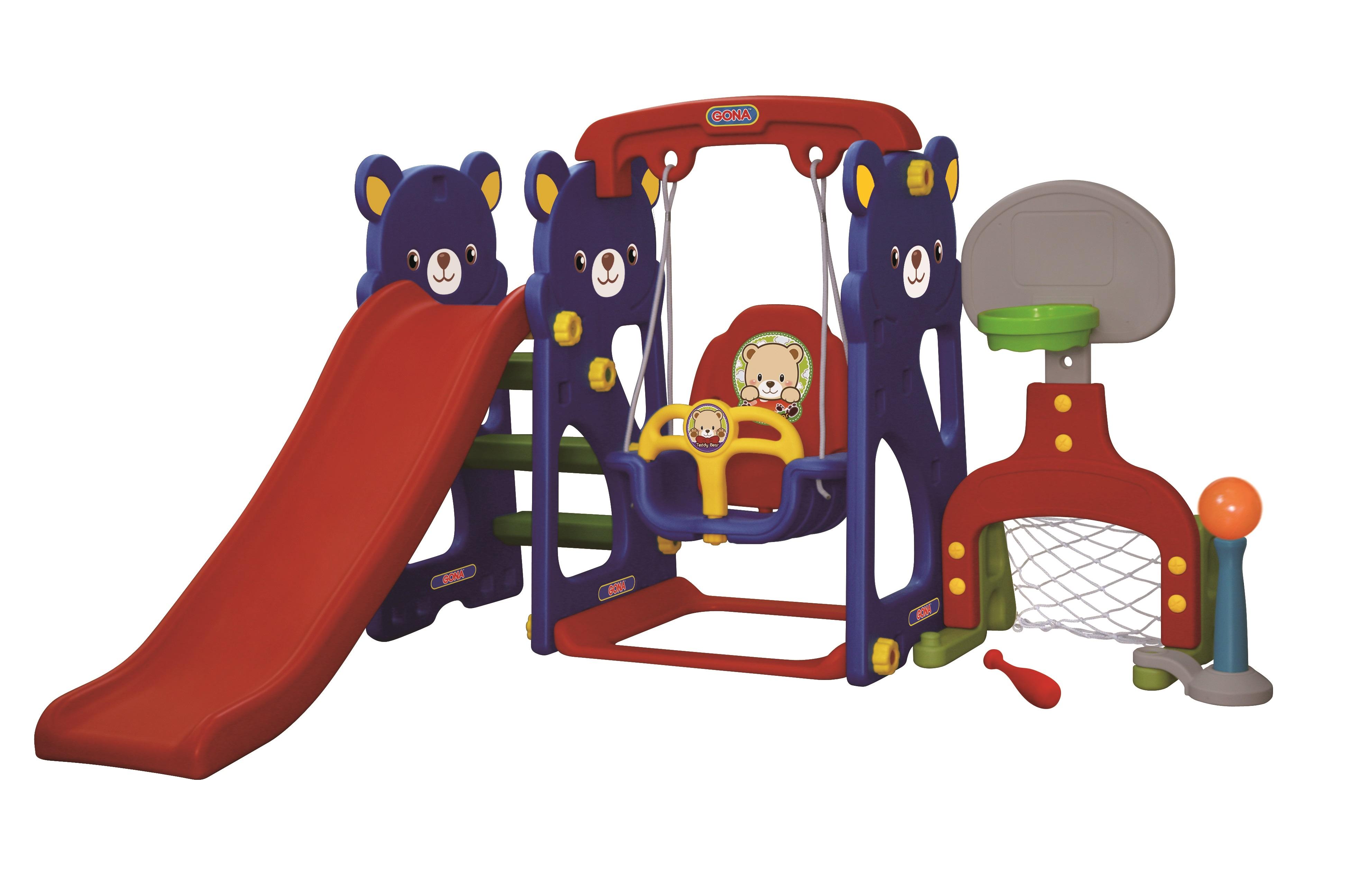 Игровая зона Мишка с качелями с музыкальной панелью, футбольными воротами и баскетбольным кольцом - Детские игровые горки, артикул: 161471