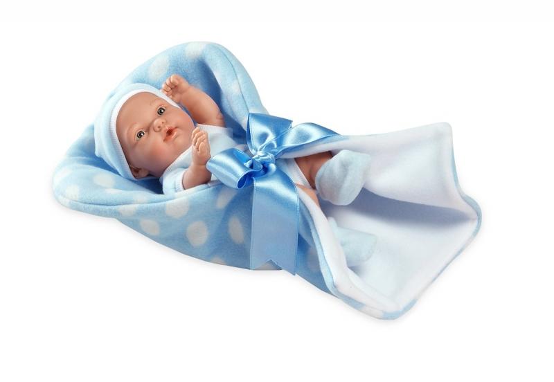 Купить Кукла из коллекции Elegance – Пупс виниловый в флисовом конверте с атласной лентой, голубой, 26 см, Arias