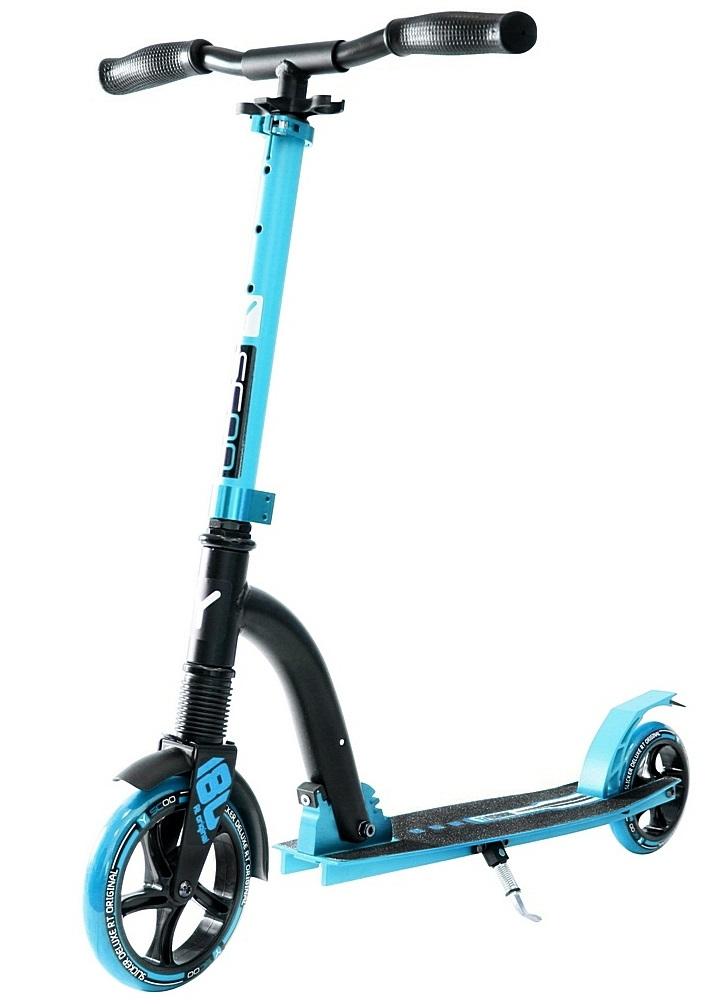 Купить Двухколесный самокат Y-Scoo RT 180 Slicker с амортизатором Deluxe, голубой