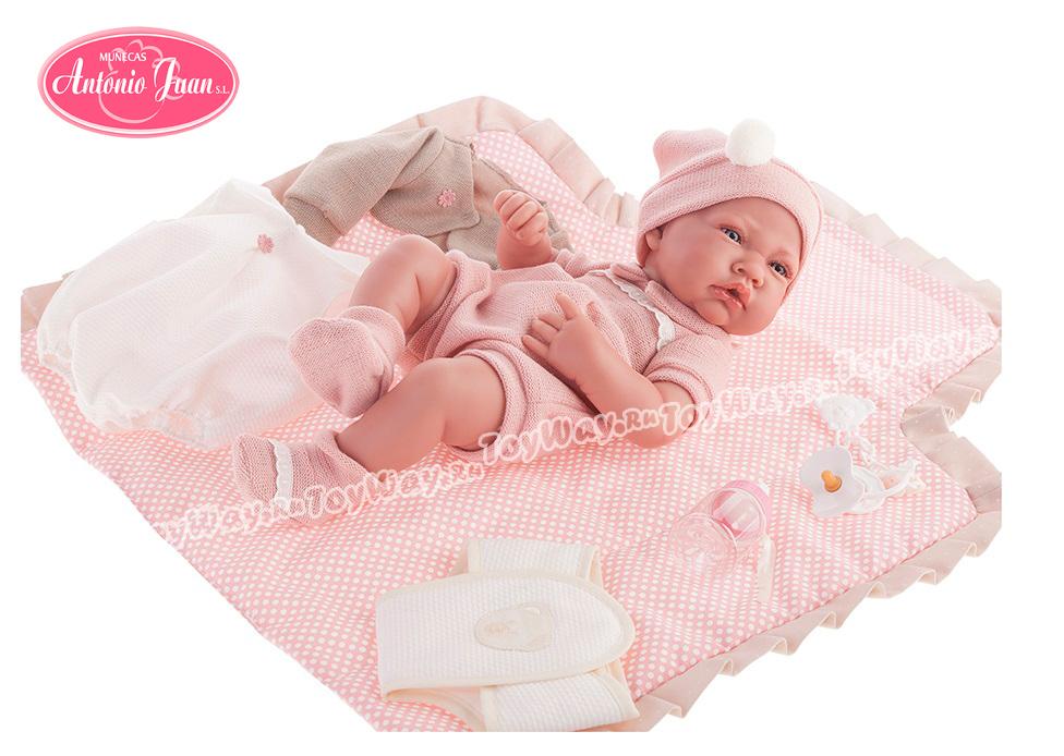 Кукла-младенец Кармелита, с пеленальным комплектом, 42 см. от Toyway