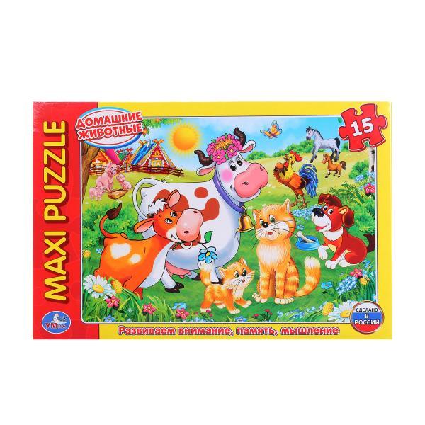 Макси-пазл Домашние животные, 15 картонных деталейПазлы для малышей<br>Макси-пазл Домашние животные, 15 картонных деталей<br>
