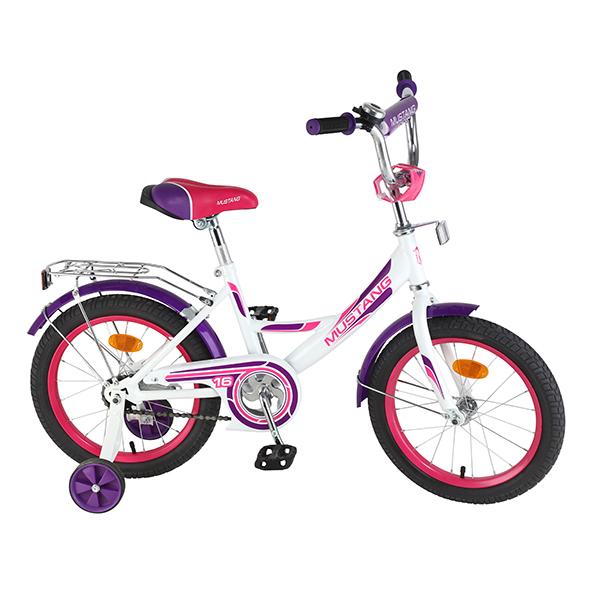 """Детский велосипед – Mustang, 16"""", А-тип, бело-фиолетовый"""