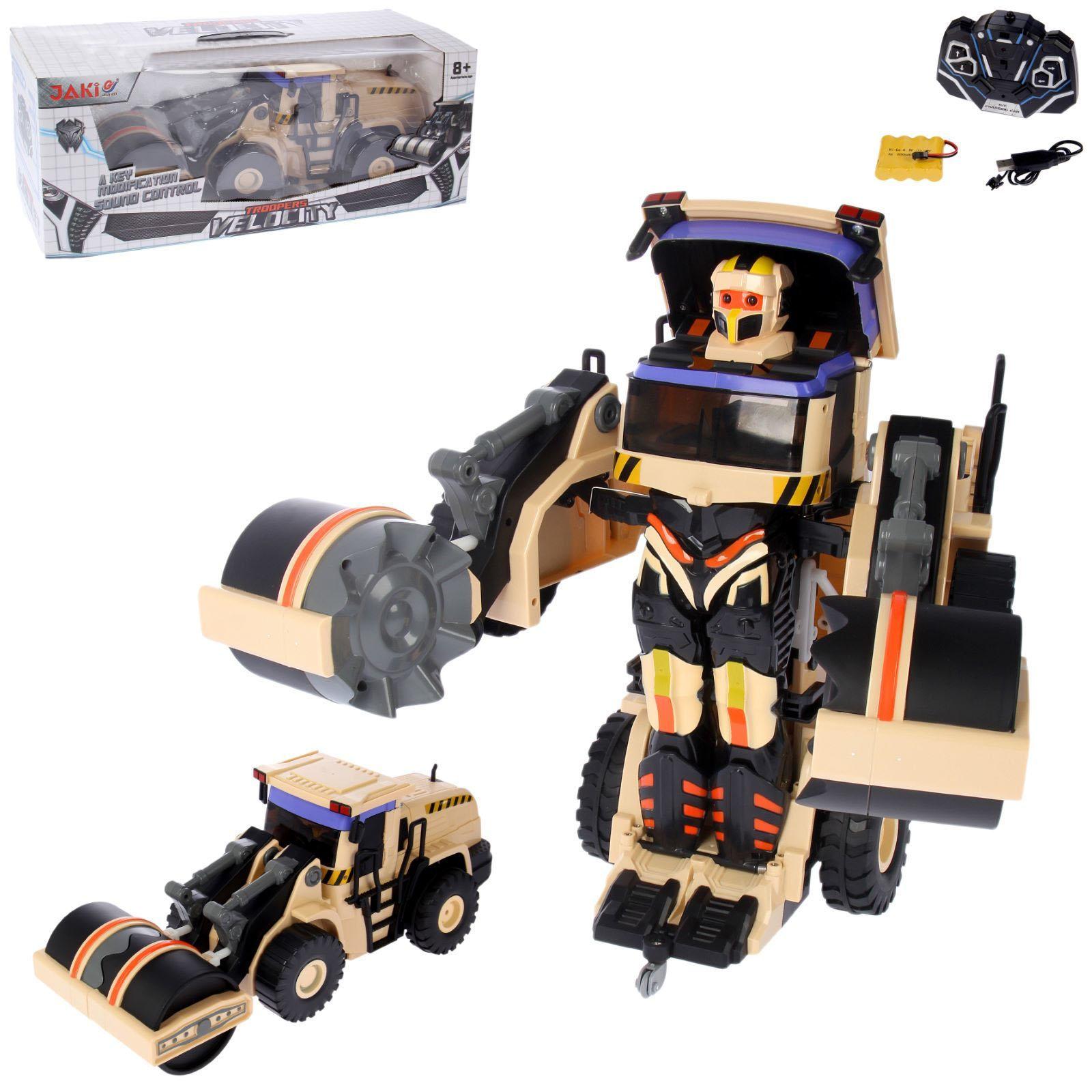 Робот на радиоуправлении, трансформируется в строительный каток, со светом и звуком, 38 см.Игрушки трансформеры<br>Робот на радиоуправлении, трансформируется в строительный каток, со светом и звуком, 38 см.<br>