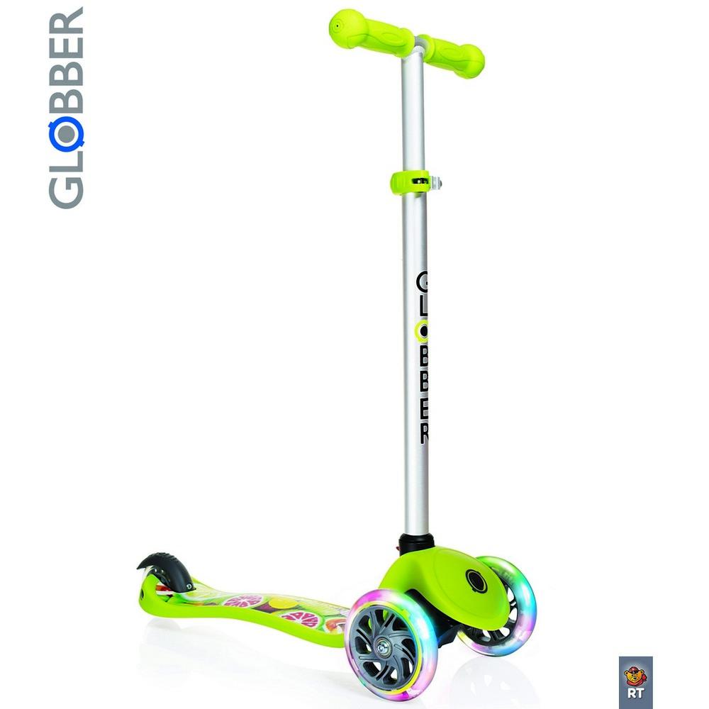 Купить Самокат Y-SCOO Globber Primo Fantasy с 3 светящимися колесами Fruitiness Lime green