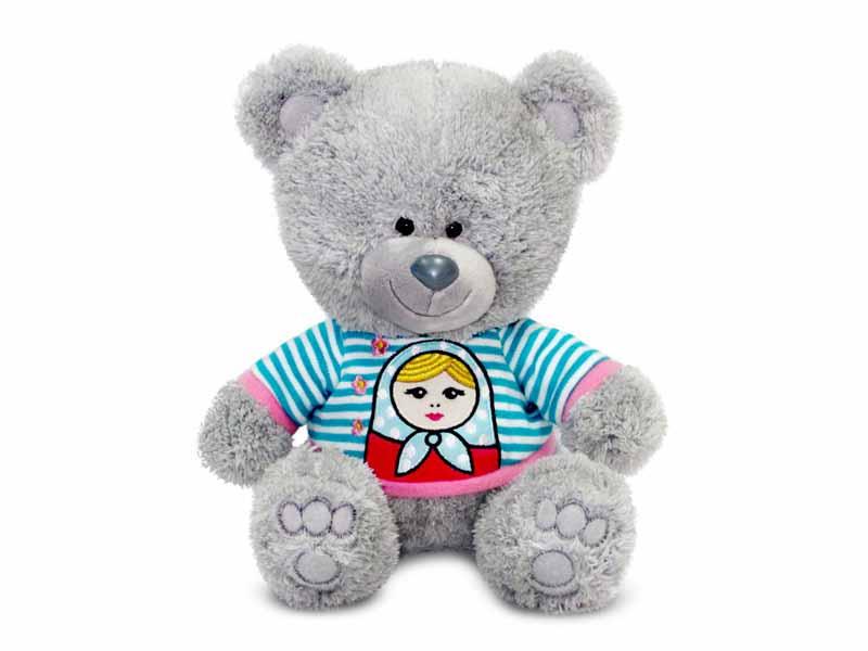 Мягкая игрушка - Медвежонок Ники в футболке с матрешкой, музыкальный, 21,5 смМедведи<br>Мягкая игрушка - Медвежонок Ники в футболке с матрешкой, музыкальный, 21,5 см<br>