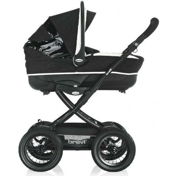 Коляска Brevi детская для новорожденных Rider, черно-белая