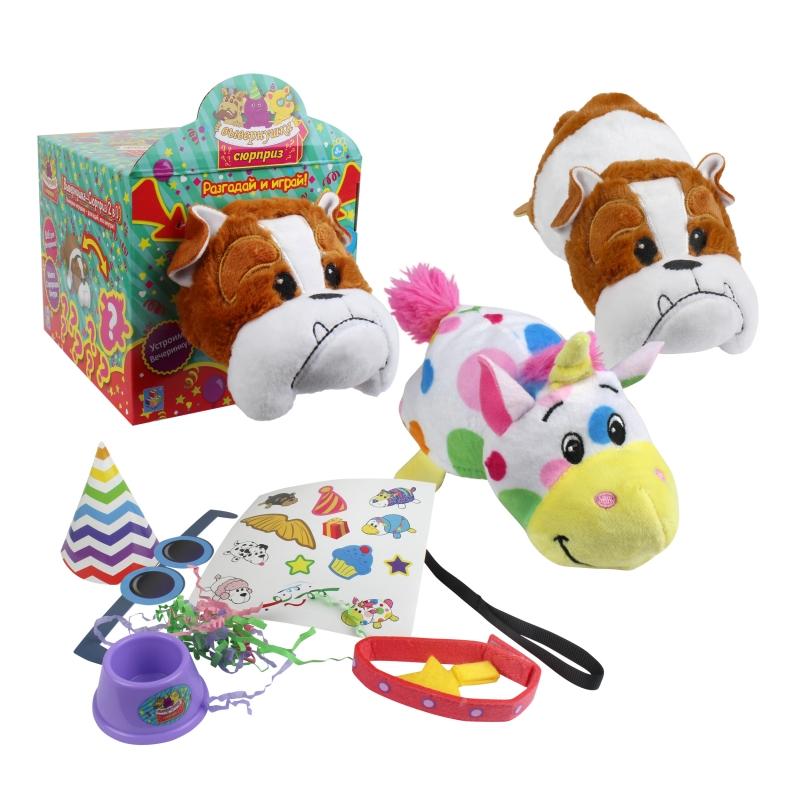 Плюшевая игрушка Вывернушка-Сюрприз 2 в 1 - Бульдог, аксессуары фото
