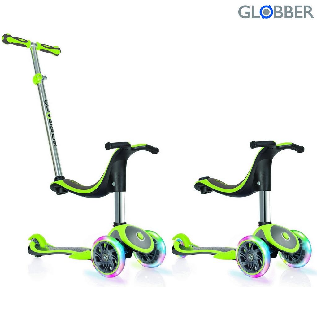 Самокат Globber Evo 4 in 1 Plus c подножками, с 3 светящимися колесами GreenТрехколесные самокаты<br>Самокат Globber Evo 4 in 1 Plus c подножками, с 3 светящимися колесами Green<br>
