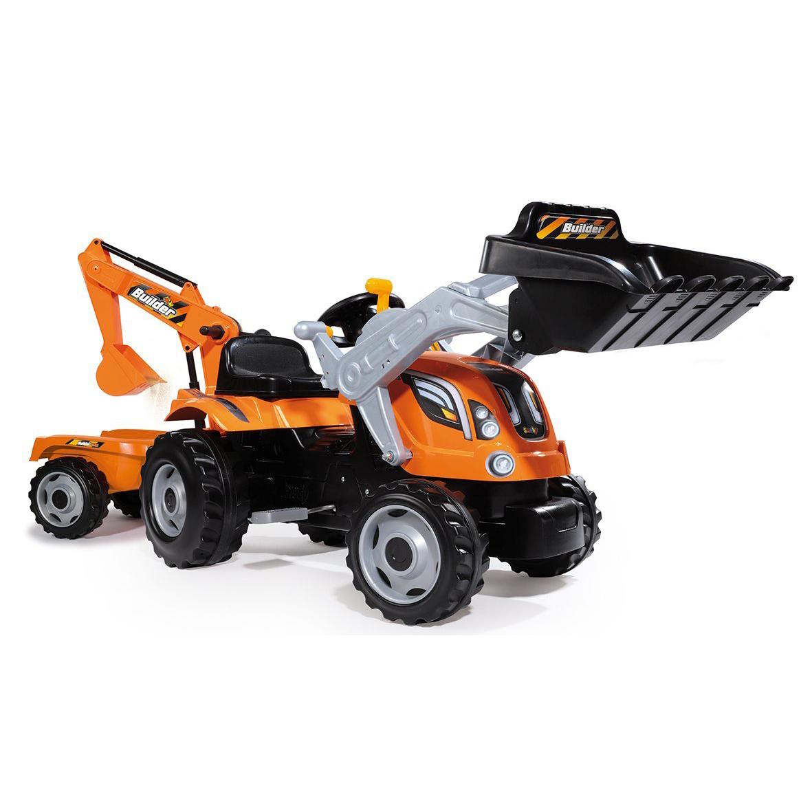 Купить Трактор Smoby педальный строительный с 2-мя ковшами и прицепами