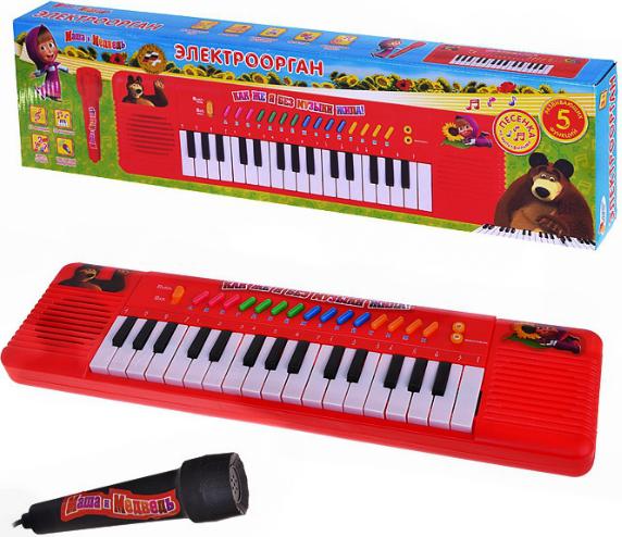 Электроорган «Маша и медведь» с микрофономСинтезаторы и пианино<br>Электроорган «Маша и медведь» с микрофоном<br>