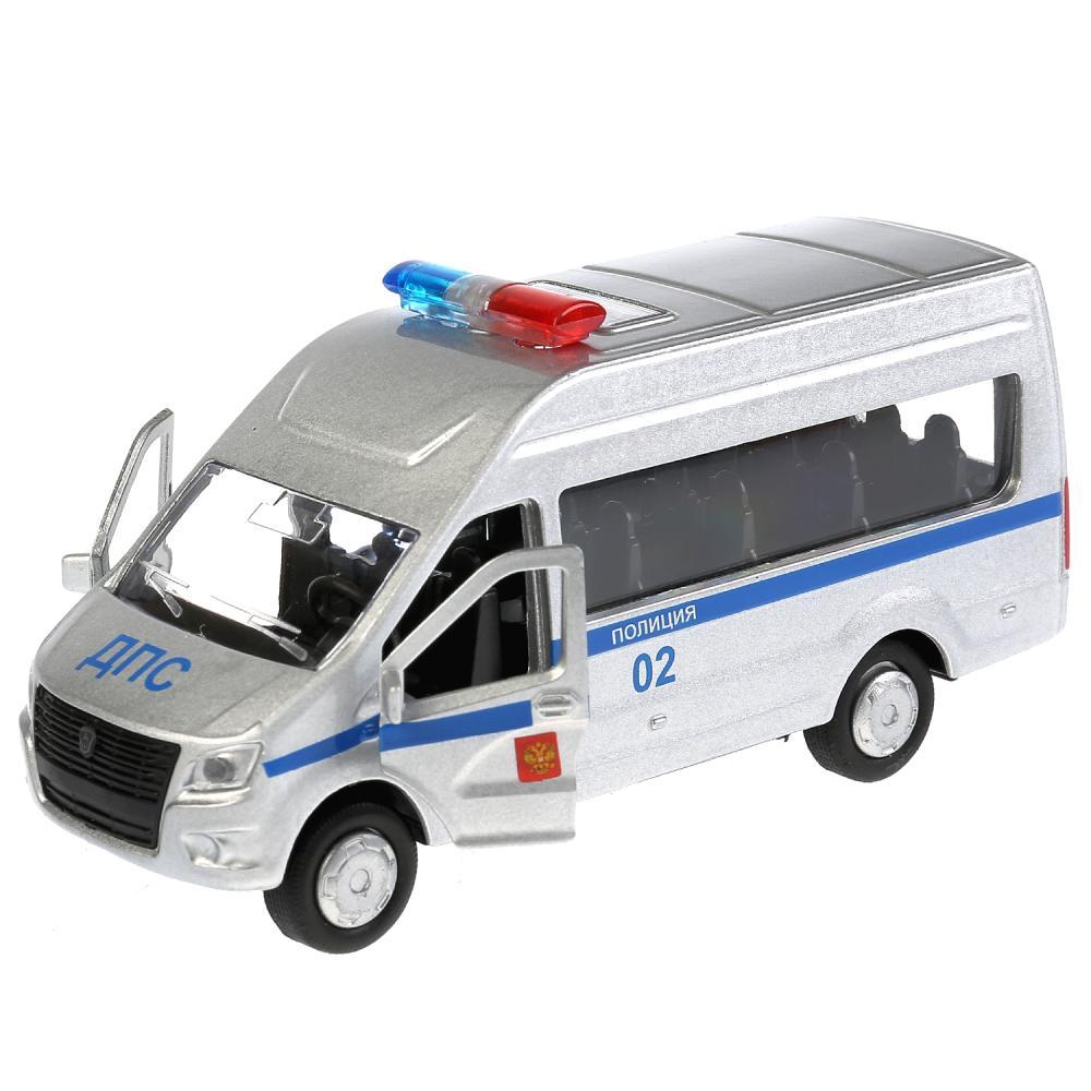 Купить Машина инерционная металлическая ГАЗ Газель Next - Полиция 12 см, открываются двери, Технопарк