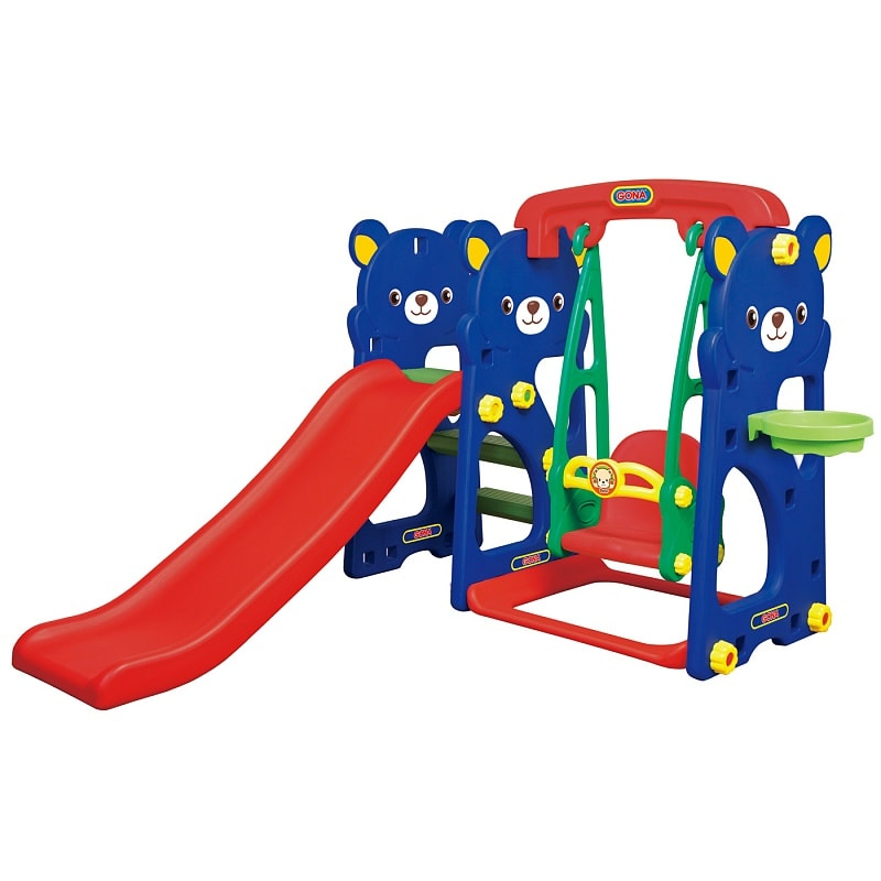 Игровая зона Мишка с качелями с музыкальной панелью, горкой и баскетбольным кольцом - Детские игровые горки, артикул: 161474
