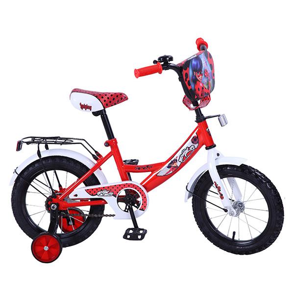 Купить Велосипед детский Lady Bug с колесами 14 , рама А-тип, багажник, страховочные колеса, щиток на руле, красно/белый