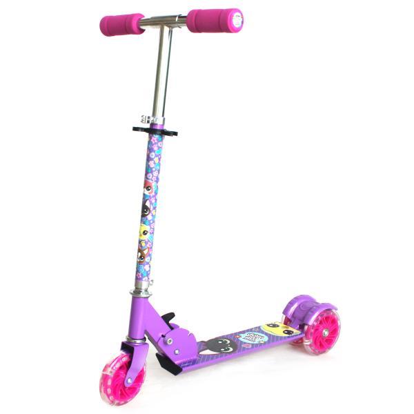 Трехколесный складной самокат – Pet Shop, светящиеся колеса 12 см, фиолетовый