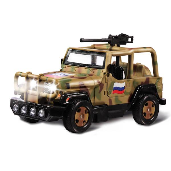 Купить Модель Военный внедорожник, инерционный, 13 см, свет и звук, Технопарк