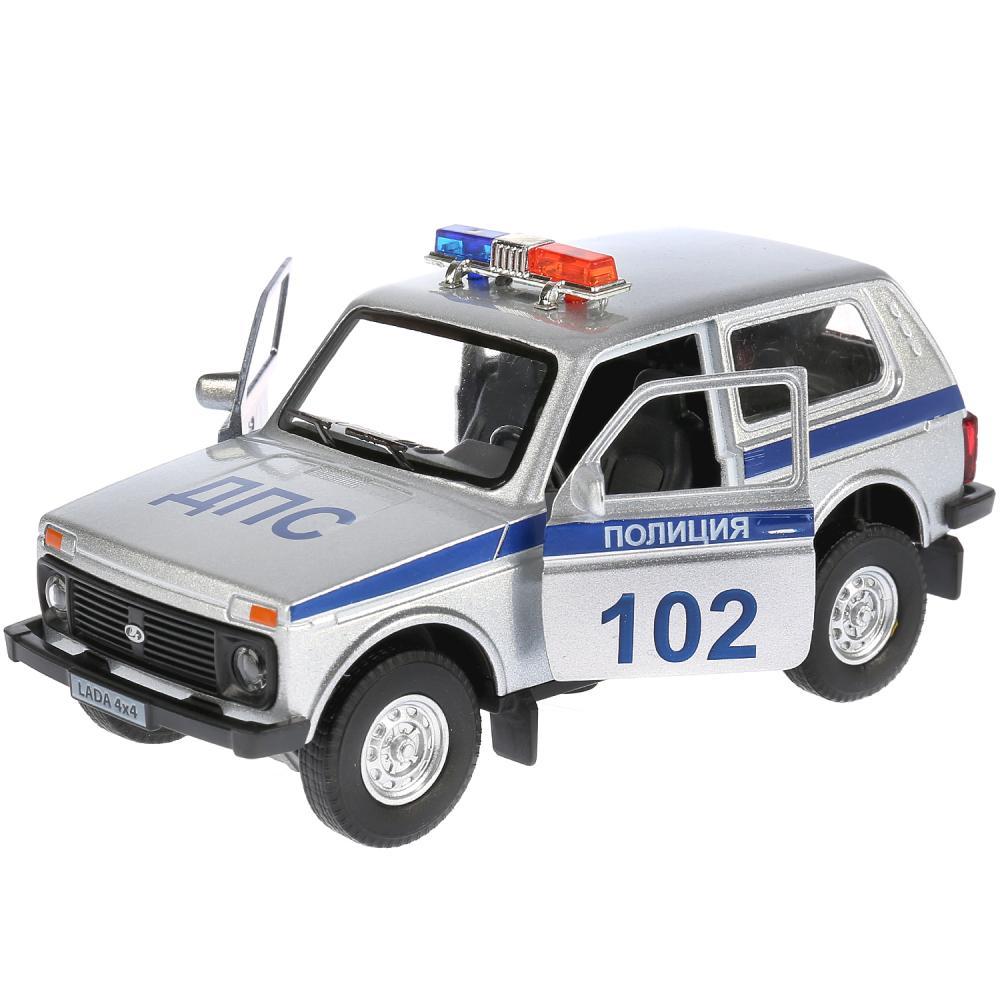 Купить Модель Lada 4x4 Полиция, 12 см, инерционная, свет и звук, Технопарк