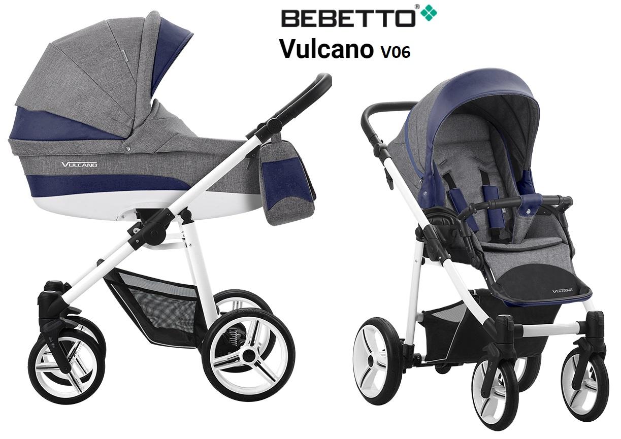 Детская коляска Bebetto Vulcano New 2 в 1, шасси белая/bia V06Детские коляски 2 в 1<br>Детская коляска Bebetto Vulcano New 2 в 1, шасси белая/bia V06<br>