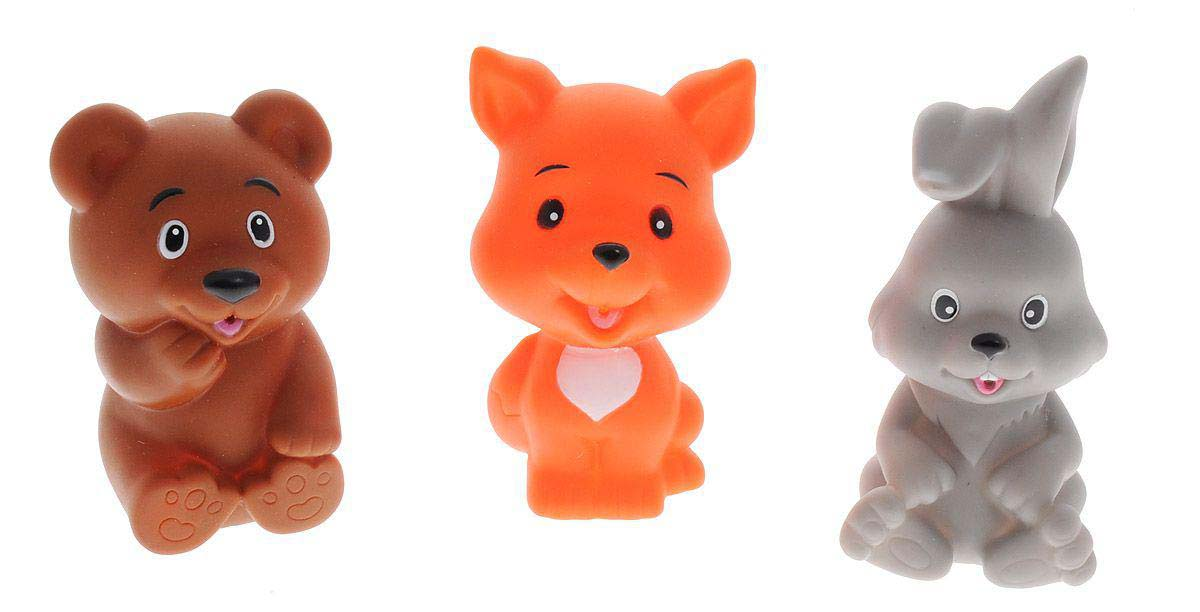 Игрушки для ванной - Заяц, лиса, медведьРезиновые игрушки<br>Игрушки для ванной - Заяц, лиса, медведь<br>