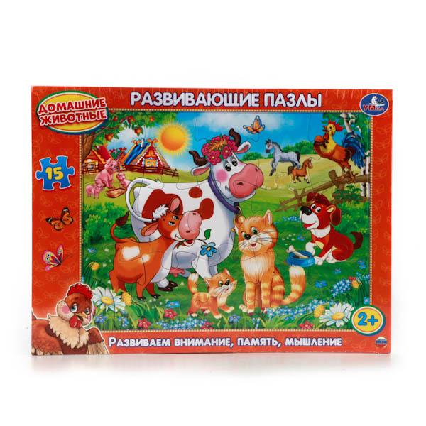Развивающий пазл в рамке - Домашние животные, 15 элементовПазлы для малышей<br>Развивающий пазл в рамке - Домашние животные, 15 элементов<br>