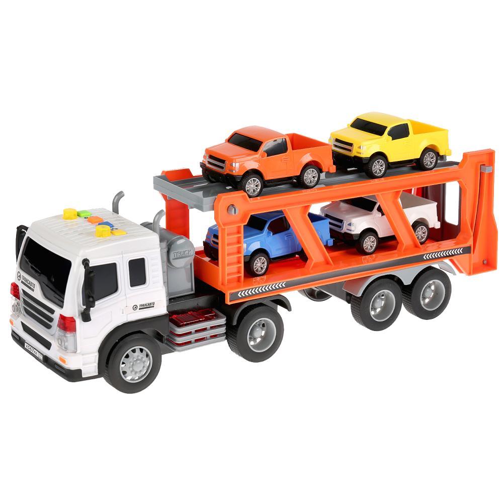 Купить Машина - Автотрейлер, 37 см с 4 машинами, свет и звук, Технопарк