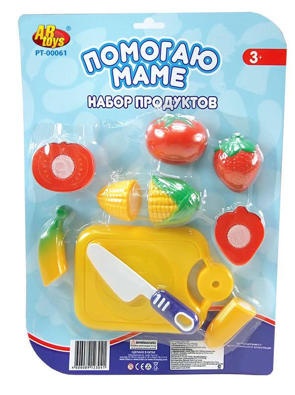 Игровой набор из фруктов и овощей для резки на липучкахАксессуары и техника для детской кухни<br>Игровой набор из фруктов и овощей для резки на липучках<br>