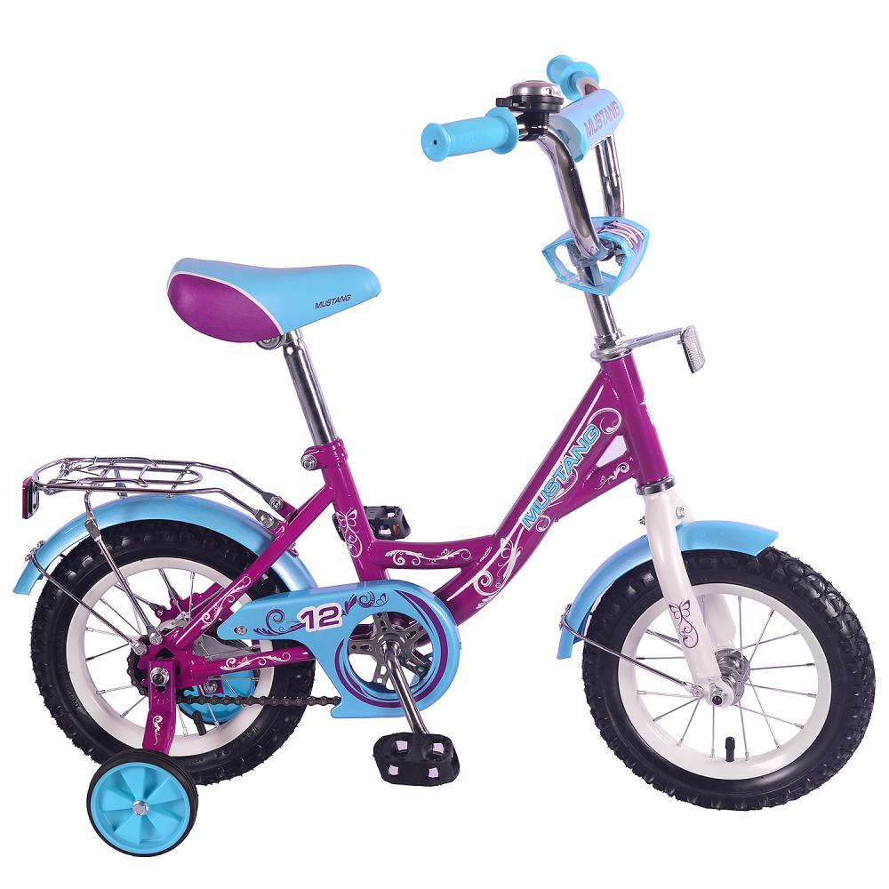 Купить Детский велосипед – Mustang, колеса 12 дюйм, Y-тип, багажник, страховочные колеса, звонок, фиолетово-голубой