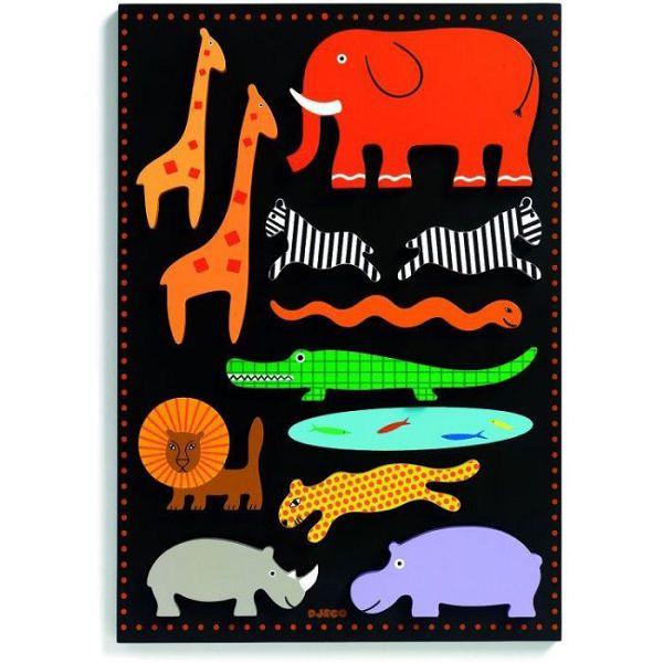 Купить Деревянная рамка-вкладыш Ботабло, 11 фигурок, Djeco